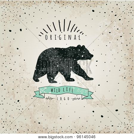 Vintage label bear. Design for T-Shirt.