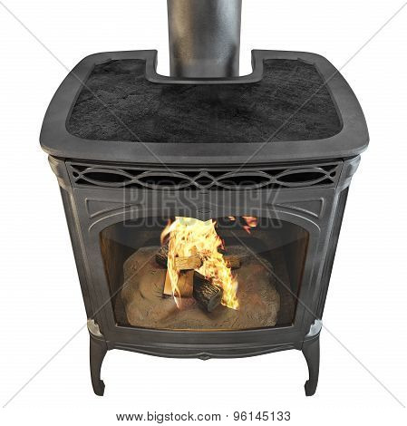 Classic fireplace side view isolated fire 3d graphics