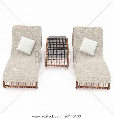 Rattan chairs 3d graphics