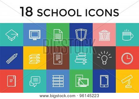 Back to school 16 vector icons set. Science objects, or university and college symbols. Stock design