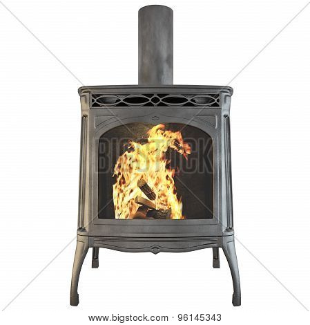 Fireplace isolated 3d graphics