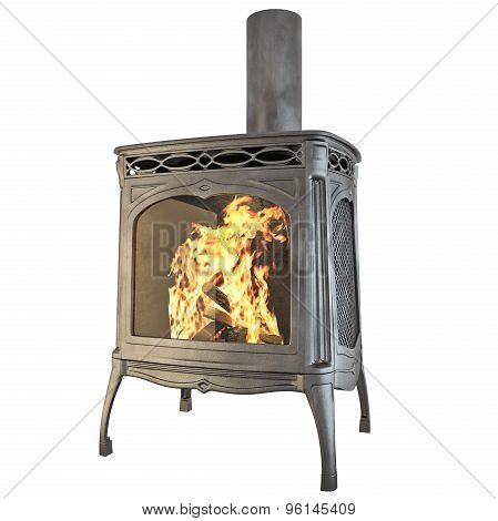 Classic fireplace isolated 3d graphics