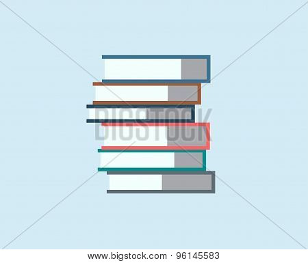 Books stack vector icon isolated. School objects, or university and college symbols. Stock design el