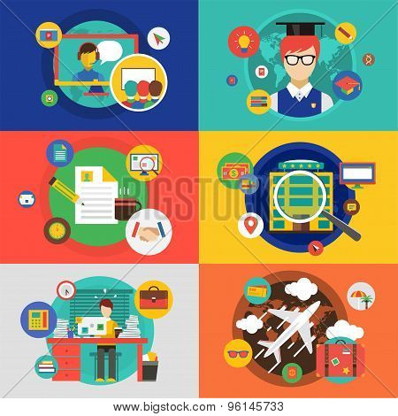 Vector infographic objects set. Startup, Travel, School and Office. Stock illustrations for design.