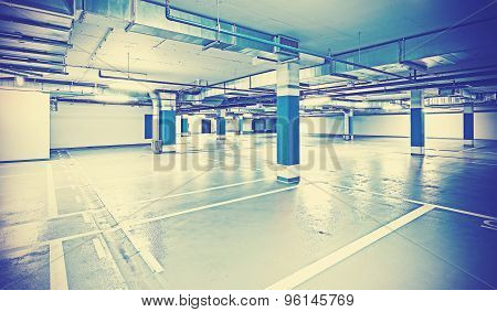 Instagram Toned Photo Of Underground Parking, Industrial Background.