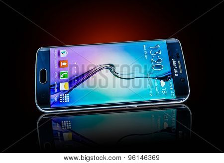 MOSCOW, RUSSIA- JULY 15, 2015: Samsung Galaxy S6 Edge. Android smartphones manufactured and marketed by Samsung Electronics. Illustrative editorial only.