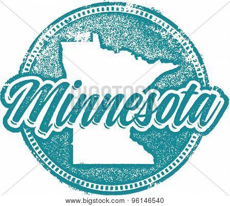 Vintage Minnesota USA State Stamp