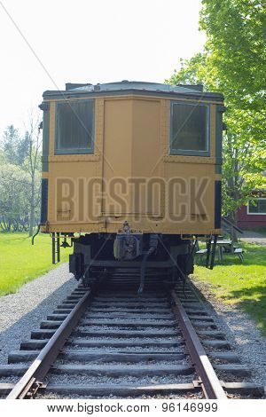 Backview of vintage train wagon on a old station, sulphur springs, Ontario, Canada