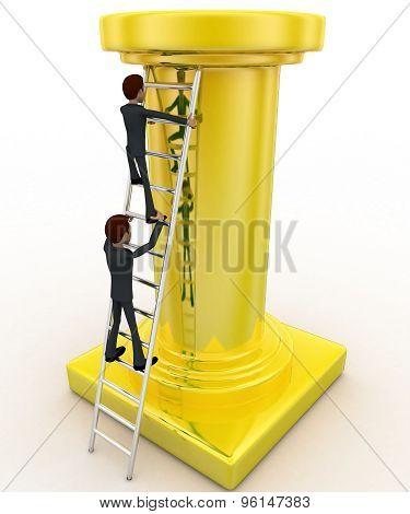 3D Man Climb Tall Golden Pillar Using Ladder Concept