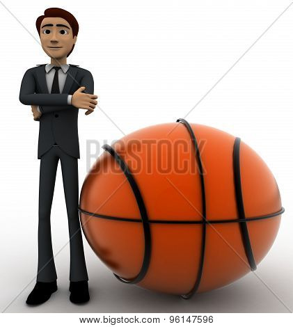 3D Man With Big Basket Ball Concept