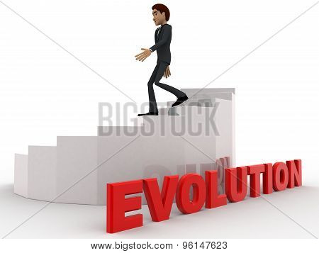 3D Man Walking On Stair With Evolution Concept