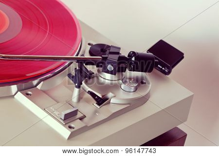 Analog Stereo Turntable Vinyl Record Player Tonearm Closeup