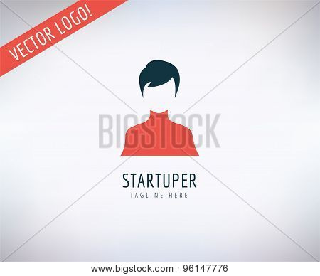 Startup business creation logo. Leader, Business, Idea and Up with new team. Vector stock illustrati