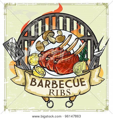 BBQ Grill label design - Ribs