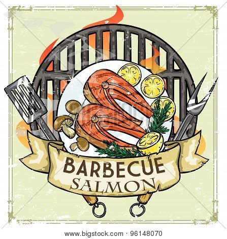 BBQ Grill label design - Salmon