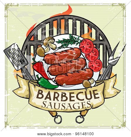 BBQ Grill label design - Sausages