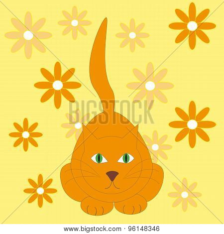 Vector Illustration Of Red Cat On The Yellow Background With Flowers