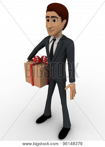 3D Man With Wrapped Gift Box Concept