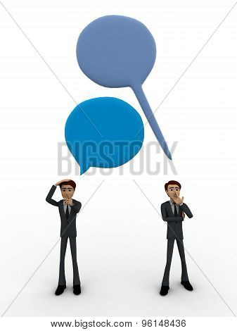 3D Man With Chat Bubble And Communication Gap Concept