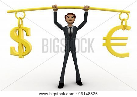 3D Man Lifting Dollar Ad Euro Up In Air Concept