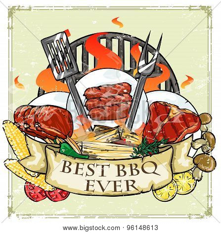 BBQ Grill label design - Best BBQ Ever