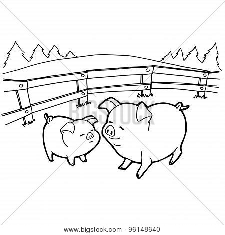 pig cartoon coloring pages vector