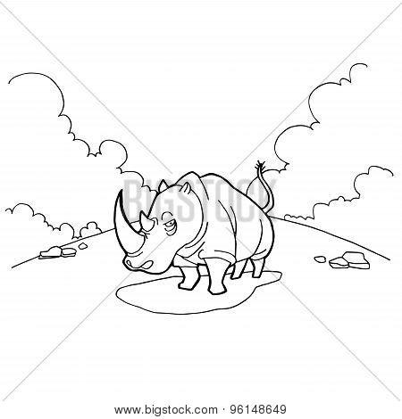 rhinoceros cartoon coloring pages vector