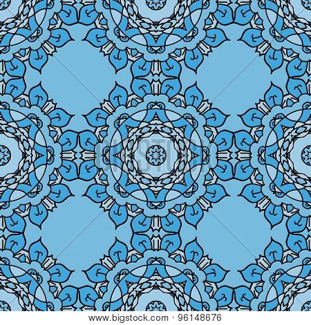 Blue vector seamless pattern with ornamental illustration