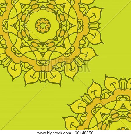 Yellow Vector Background With Ornamental Mandala