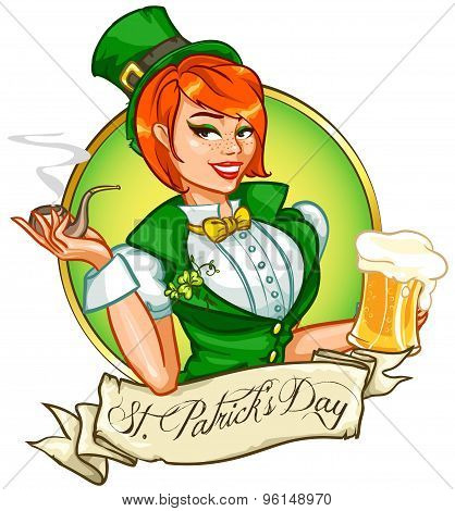 Pretty Pin Up Girl with beer mug and smoking pipe