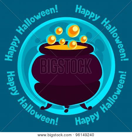 Happy halloween greeting card with moon and pot of potion