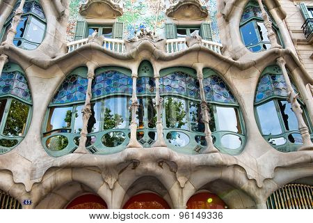 BARCELONA - MAY 01: The facade of the house Casa Battlo (also known as the house of bones) designed by Antoni Gaudi ­ in his famous expressionistic style on May 01, 2015 Barcelona, Spain