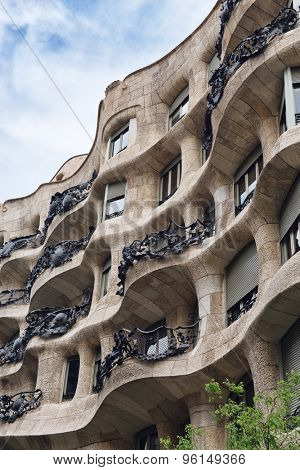 BARCELONA, SPAIN - MAY 01: Casa Milla, details of the facade of the house made by the Catalan architect Antonio Gaudi, May 01, 2015 in Barcelona, Spain