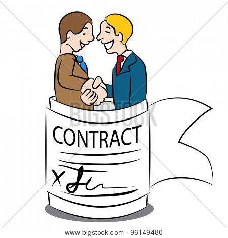 An image of a cartoon representing an agreement in a contract.