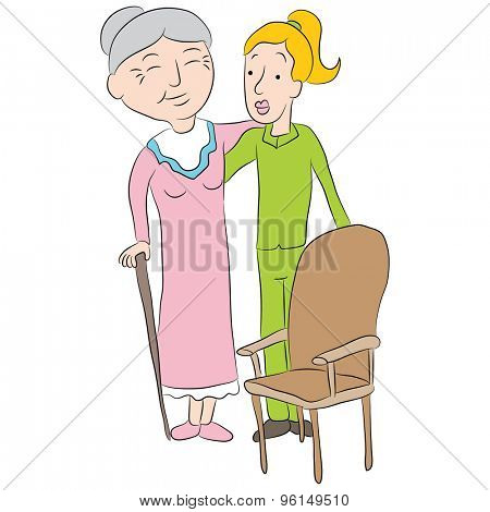 An image of a cartoon girl helping a senior lady to a chair.