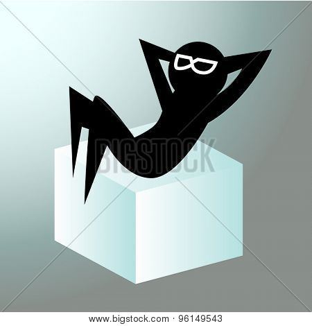 An image of a silhouette figure who is relaxing on an ice cube (chilling out).