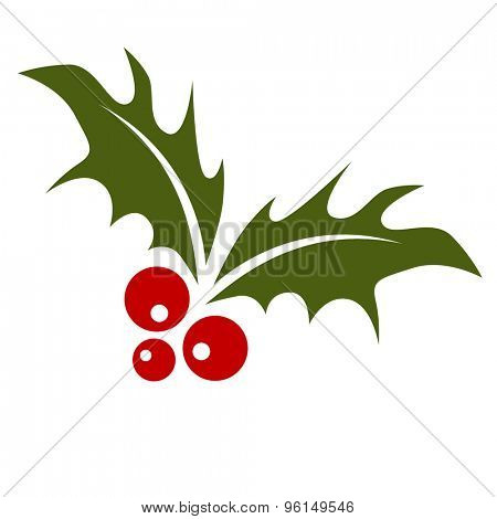 An image of a holly leaf with red berries.
