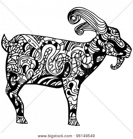 An image of a goat - zentangle style.