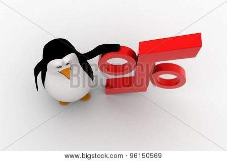 3D Penguin With Red Percentage Symbol Concept