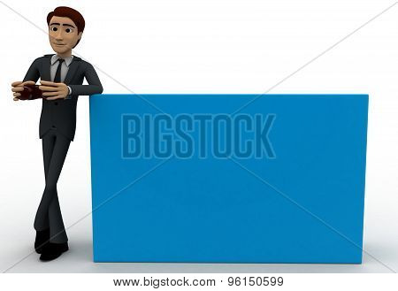 3D Man With Binocular In Hand Concept