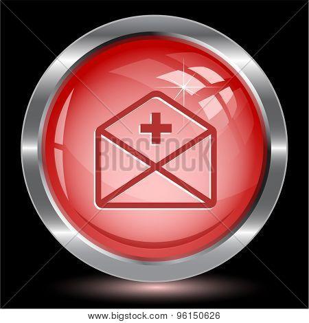 mail plus. Internet button. Vector illustration.