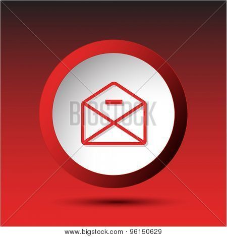 mail minus. Plastic button. Vector illustration.