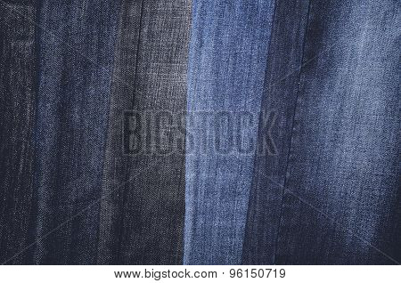 Jeans Hanging Vertically On A Hanger. Full Frame. Horizontal