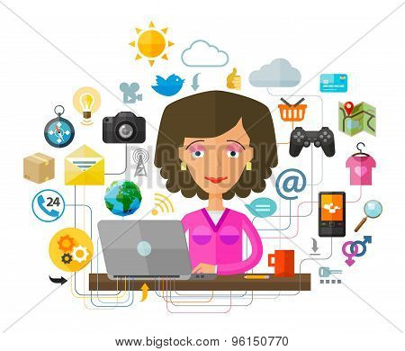 The young woman at the computer on the Internet. laptop, pc or network, web icons