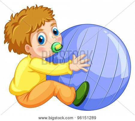 Little boy playing with big ball