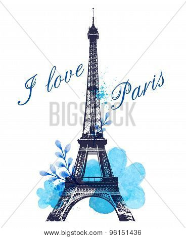 Blue Watercolor Flowers And Eiffel Tower