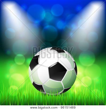 Soccer Ball On Stadium Vector Background
