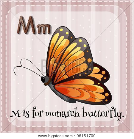 Flashcard letter M is for monarch butterfly