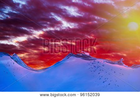 Water waves on sky background