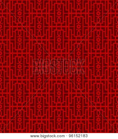 Seamless Chinese window tracery square geometry pattern background.